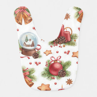 Pretty Christmas baby bib