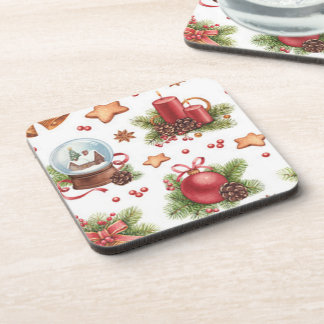 Pretty Christmas Square Coaster