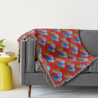 Pretty Christmas Succulent Floral Throw Blanket