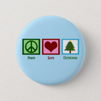 Pretty Christmas Tree Blue Peace Sign Heart 2 Inch Round Button
