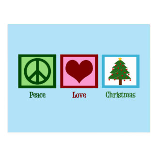 Pretty Christmas Tree Blue Peace Sign Heart Postcard
