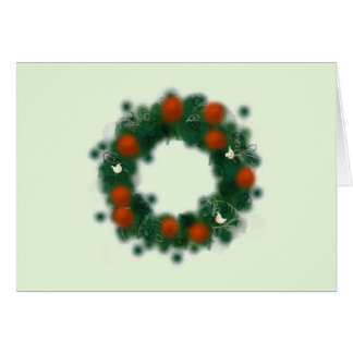 Pretty Christmas wreath with baubles and doves Card