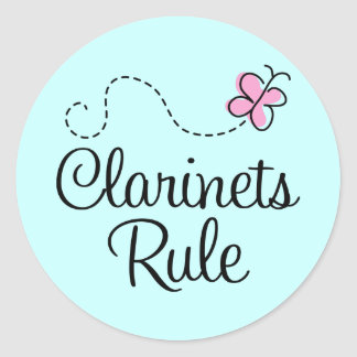 Pretty Clarinets Rule Music Gift Classic Round Sticker