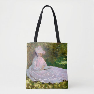 Pretty Claude Monet Springtime Reader Print Tote Bag