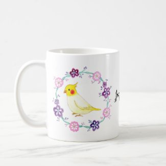 Pretty Cockatiel Custom Name Cute Cockatiel lutino Coffee Mug