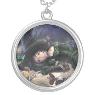 pretty collar witch fairy and moon butterfly silver plated necklace