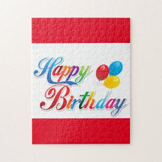 pretty colored happy birthday puzzle