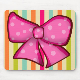 Pretty Colorful Bow and Stripes Girlie Mouse Pad