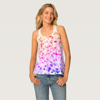 Pretty colorful circle rings print all over tank