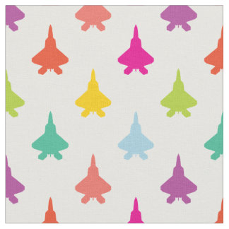 Pretty Colorful F-22 Raptor Fighter Jet Pattern Fabric