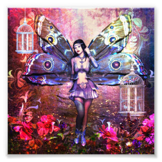 Pretty Colorful Fantasy Fairy Gypsy Moth Photo Print