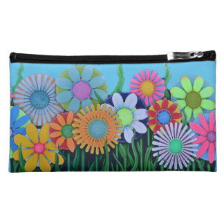 Pretty Colorful Flowers Girlie Makeup Bag