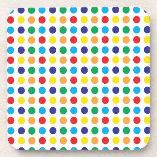 Pretty Colorful Fun Polka Dots Pattern Multi Color Beverage Coaster