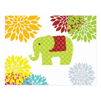 Pretty Colorful Hippie Elephant Flower Power Postcard