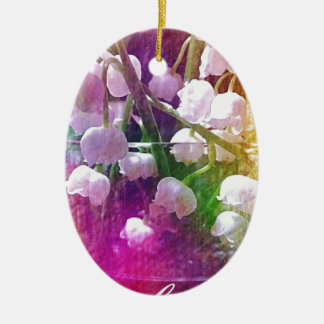 Pretty Colorful Lily of The Valley Botanical Ceramic Oval Ornament