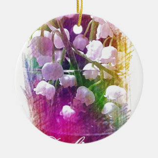 Pretty Colorful Lily of The Valley Botanical Round Ceramic Ornament