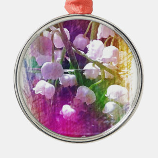 Pretty Colorful Lily of The Valley Botanical Silver-Colored Round Ornament