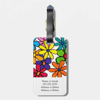 Pretty Colorful Painted Daisy Flowers Luggage Tag