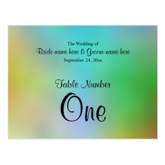 Pretty Colorful Wedding Table Number Design. Postcard