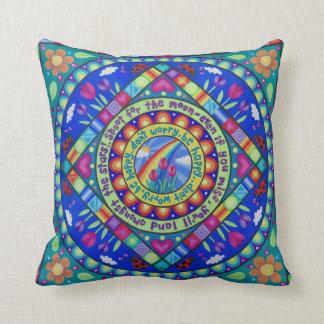 "Pretty, colourful ""Be Happy"" cushion by Soozie"