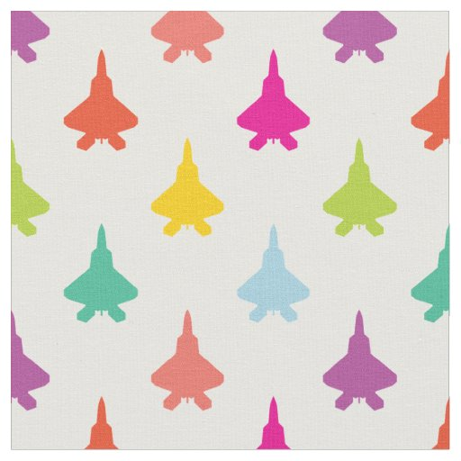 Pretty Colourful F-22 Raptor Fighter Jet Pattern Fabric