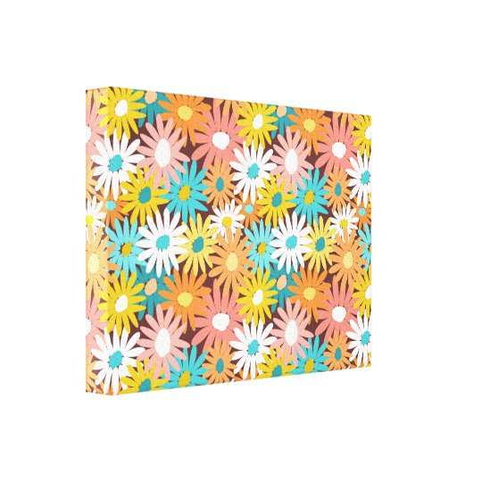 Pretty colourful spring daisies canvas print