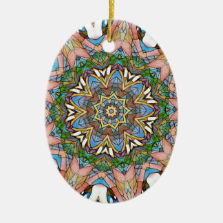 Pretty Cool Pastel Artistic Stained Glass Ceramic Oval Ornament