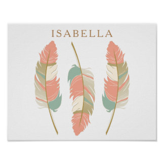 Pretty Coral and Mint Green Feathers with DIY Name Poster