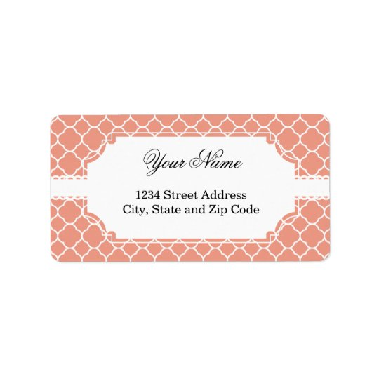 Pretty Coral Quatrefoil Pattern Label