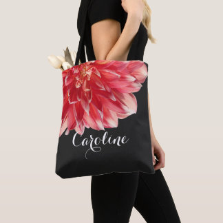 Pretty Coral Red Dahlia Personalized Name Date Tote Bag