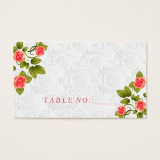 Pretty Coral Rose Flower Place Cards