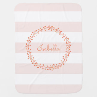 Pretty Coral Wreath on Soft Pink Stripes Baby Blanket