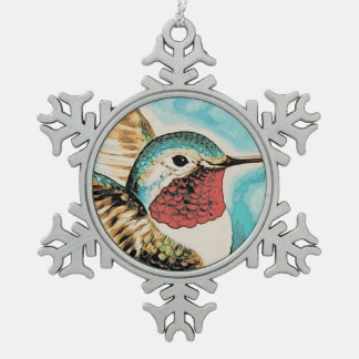 Pretty Costa's Hummingbird Snowflake Pewter Christmas Ornament