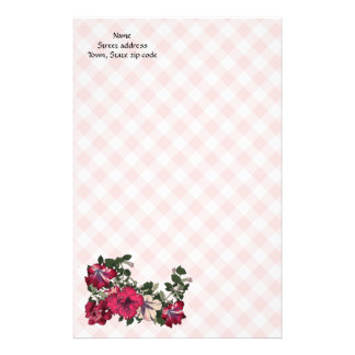Pretty Country Feminine Pink Check and flowers Stationery