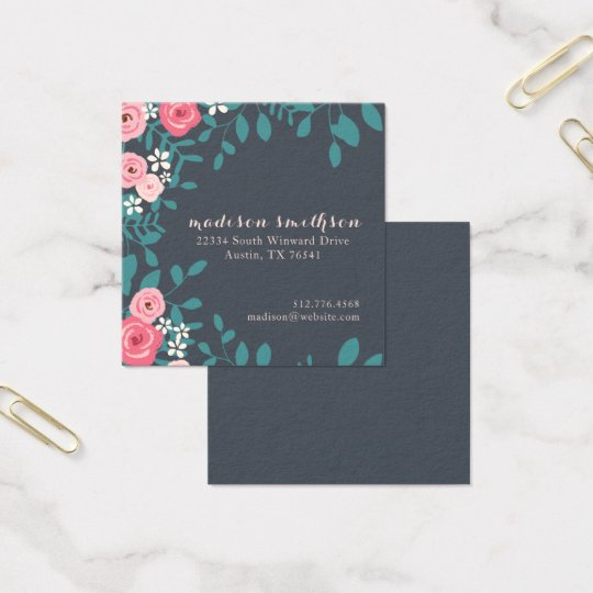 Pretty Country Floral Foliage Square Business Card