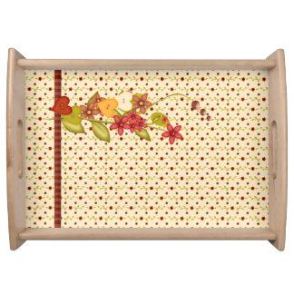 Pretty Country Style Flowers Serving Tray