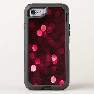 Pretty Cranberry Red Bokeh Blurry Sparkly Lights OtterBox Defender iPhone 7 Case