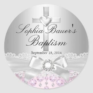 Pretty Cross Lace Bow Baptism Sticker