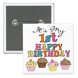 Pretty Cupcakes 1st Birthday Tshirts and Gifts 2 Inch Square Button