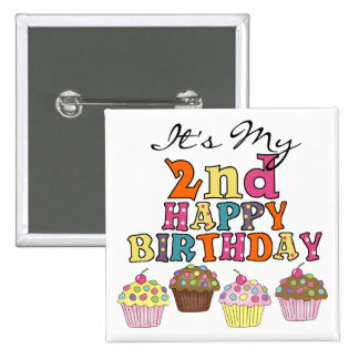Pretty Cupcakes 2nd Birthday Tshirts and Gifts 2 Inch Square Button