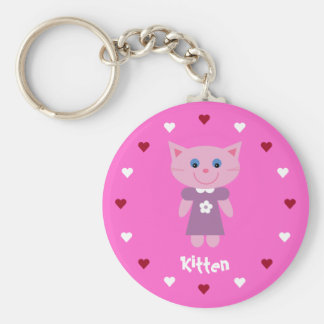 Pretty & Cute Kitten & Hearts Customizable Pink Basic Round Button Keychain