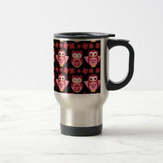 Pretty Cute Pink Owls and Flowers Pattern Black Travel Mug