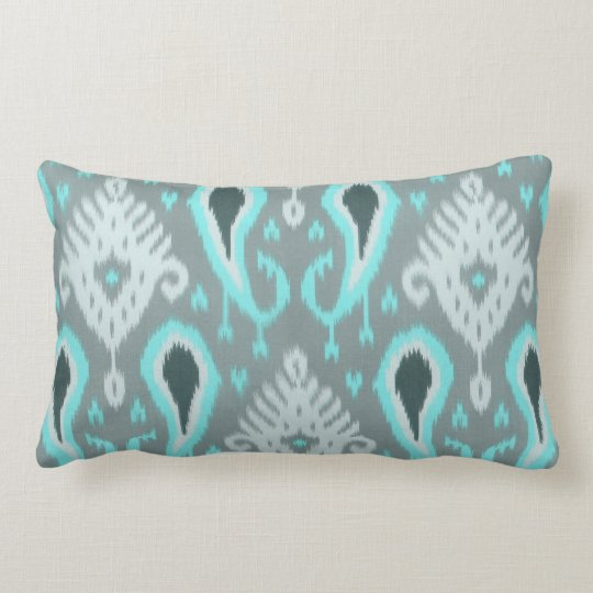 Pretty Cute Trendy Turquoise Ikat Tribal Pattern Lumbar Pillow