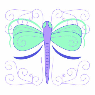 Pretty Cyan And Blue Dragonfly Ornament Photo Cutout