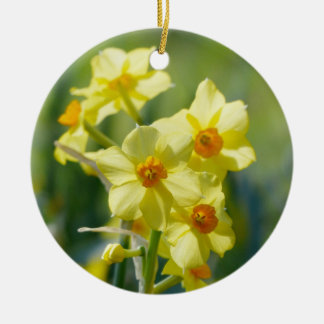 Pretty Daffodils, Narcissus 03.2_rd Ceramic Ornament