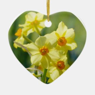 Pretty Daffodils, Narcissus 03.2_rd Ceramic Ornament