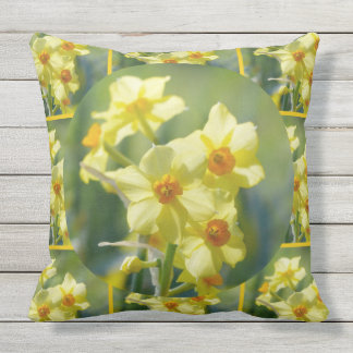 Pretty Daffodils, Narcissus 03.9_rd Outdoor Pillow