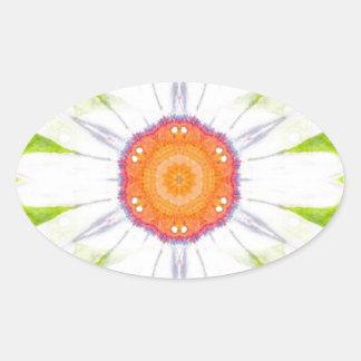 Pretty daisy design oval sticker