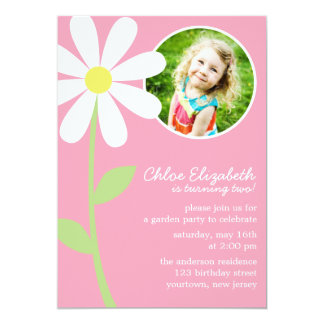 "Pretty Daisy Flower Photo Birthday 5"" X 7"" Invitation Card"