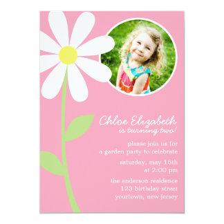 "Pretty Daisy Flower Photo Birthday 5"" X 7"" Invitation Card"